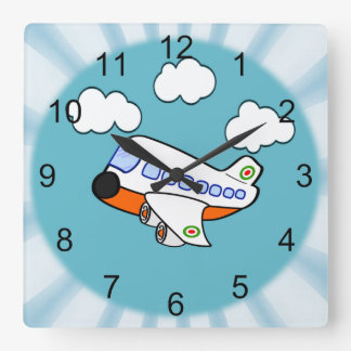 Cartoon Airplane Square Wall Clock