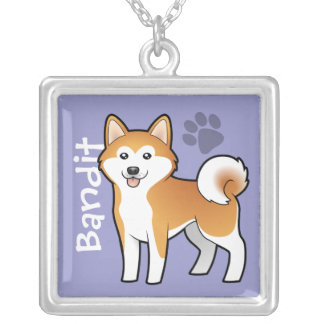 Cartoon Akita Inu / Shiba Inu (add your pets name) Square Pendant Necklace