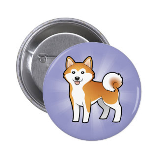 Cartoon Akita Inu Shiba Inu Pinback Buttons