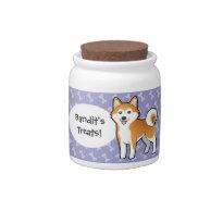 Cartoon Akita Inu / Shiba Inu cute dog jar / container/ canister