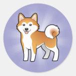 Cartoon Akita Inu / Shiba Inu Classic Round Sticker