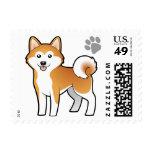 Cartoon Akita Inu / Shiba Inu Postage Stamp