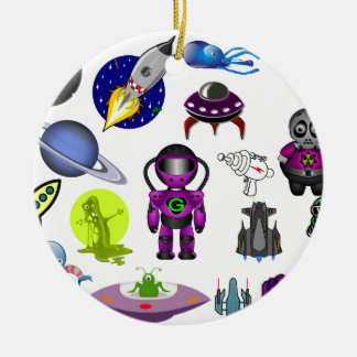 CARTOON ALIEN ASSORTMENT SPACE SPACESHIPS FUN KIDS CERAMIC ORNAMENT