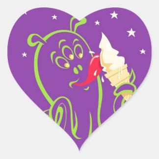 cartoon alien eating ice cream heart sticker