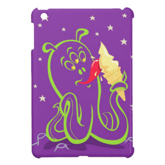 cartoon alien eating ice cream iPad mini cover