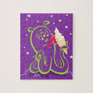 cartoon alien eating ice cream jigsaw puzzle