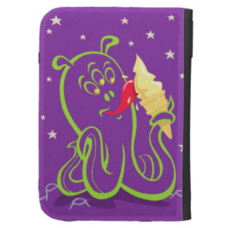 cartoon alien eating ice cream kindle folio case
