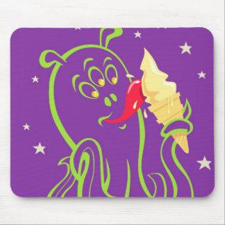 cartoon alien eating ice cream mouse pad