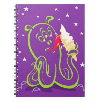 cartoon alien eating ice cream notebook