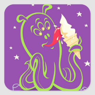 cartoon alien eating ice cream square sticker