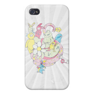 cartoon aliens and bunnies funny vector iPhone 4/4S covers
