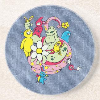 cartoon aliens and bunnies funny vector sandstone coaster