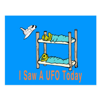 Cartoon aliens seeing UFO Postcard