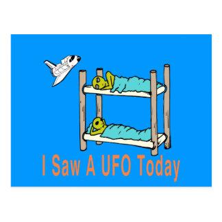 Cartoon aliens seeing UFO Postcard