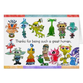 Cartoon Aliens Thank You Card (5x7)