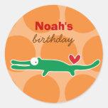 Cartoon Alligator Custom Gift Favor Label Sticker Round Sticker