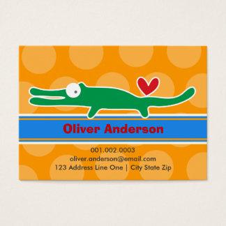 Cartoon Alligator Kid Photo Profile Calling Card