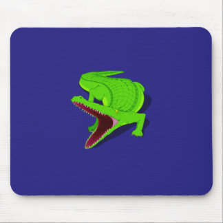 Cartoon Alligator with Its Mouth Open Mouse Pad