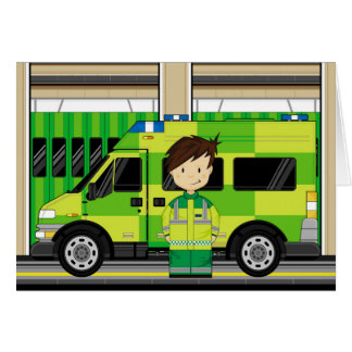 Cartoon Ambulance and EMT Card
