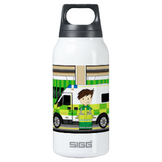 Cartoon Ambulance and EMT Insulated Water Bottle