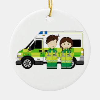Cartoon Ambulance and EMT's Ceramic Ornament