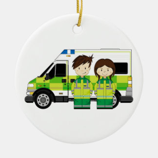 Cartoon Ambulance and EMT's Double-Sided Ceramic Round Christmas Ornament