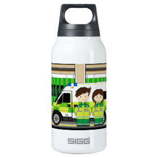 Cartoon Ambulance and EMT's Insulated Water Bottle