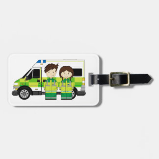 Cartoon Ambulance and EMT's Tags For Luggage