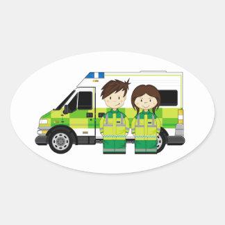 Cartoon Ambulance and EMT's Oval Sticker