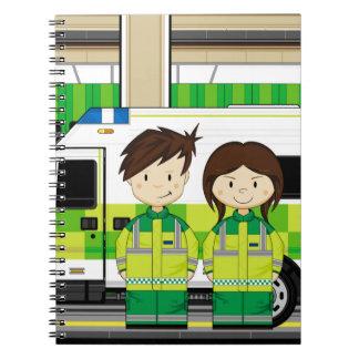 Cartoon Ambulance and EMT's Spiral Notebook
