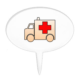 Cartoon Ambulance Cake Topper
