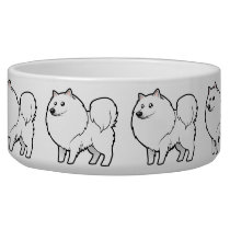 Cartoon American Eskimo Dog / German Spitz Bowl