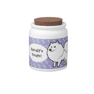 Cartoon American Eskimo Dog / German Spitz Candy Jar
