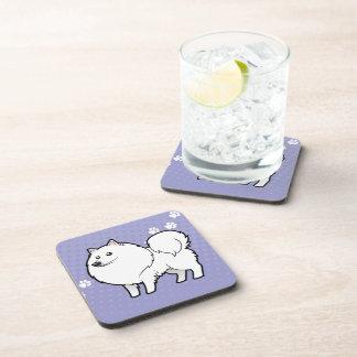 Cartoon American Eskimo Dog / German Spitz Drink Coaster