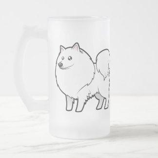 Cartoon American Eskimo Dog / German Spitz Frosted Glass Beer Mug