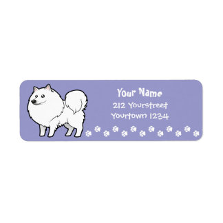 Cartoon American Eskimo Dog / German Spitz Label