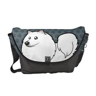 Cartoon American Eskimo Dog / German Spitz Messenger Bag