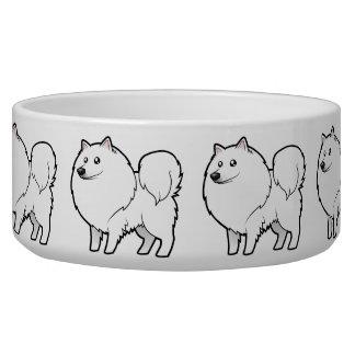 Cartoon American Eskimo Dog / German Spitz Dog Bowl
