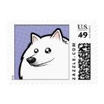 Cartoon American Eskimo Dog / German Spitz Postage Stamps