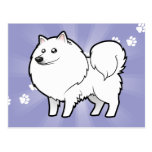 Cartoon American Eskimo Dog / German Spitz Post Card