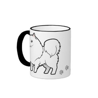 Cartoon American Eskimo Dog / German Spitz Ringer Mug