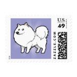 Cartoon American Eskimo Dog / German Spitz Stamp