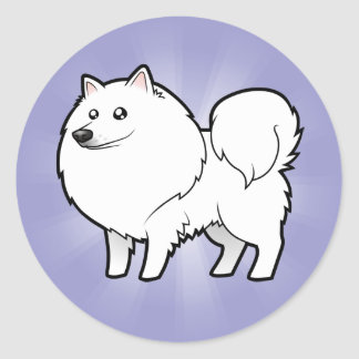 Cartoon American Eskimo Dog / German Spitz Classic Round Sticker