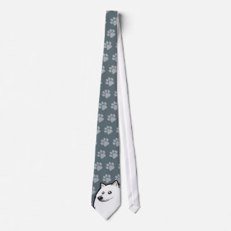Cartoon American Eskimo Dog / German Spitz Tie
