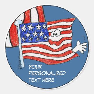 Cartoon American Flag Stickers