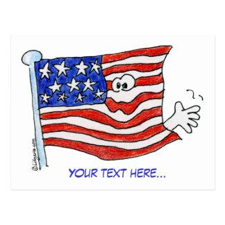 Cartoon American Flag Waving Postcards