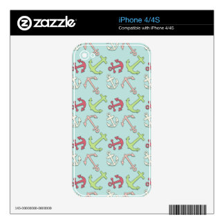 Cartoon Anchors Pattern, Nautical Mint Green Decals For The iPhone 4S