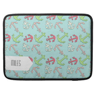 Cartoon Anchors Pattern, Nautical Mint Green MacBook Pro Sleeve