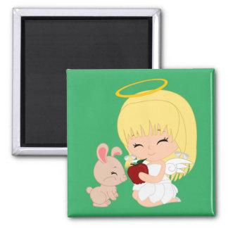 cartoon angel - Square Magnet