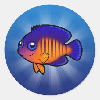 Cartoon Angelfish 1 Classic Round Sticker